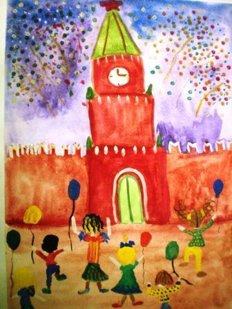 детский рисунок красной девицы